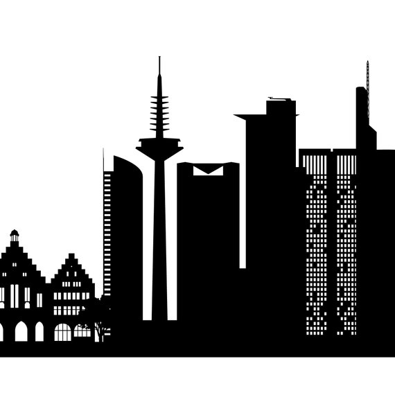 Printable Wall Art of Frankfurt Skyline urban photography in Black and White for home or office decor as an instant digital download