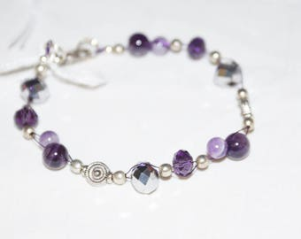 gemstone, amethyst, crystal and tibetan silver wirework bracelet