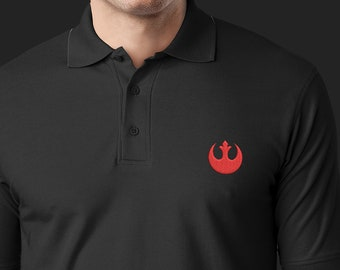 Handmade Embroidery Star Wars Rebel Alliance Polo Shirt; Avail. in 6 Shirt Colors & 15 different Shirt-Logo Color Combos (More on Request)