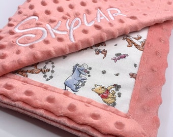 Personalized Winnie the Pooh Baby Blanket l Frame Style Border l Embroidery l Pooh and Friends l Baby Shower Gift l Disney Cotton and Minky