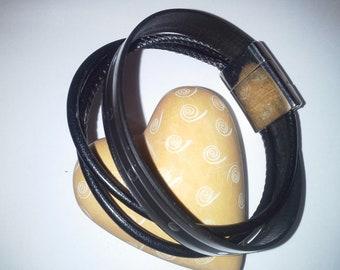 FREE SHIPPING Women's leather bracelet. Brown-Black leather women's cuff bracelet