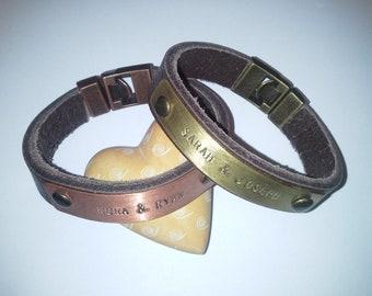 FREE SHIPPING Custom leather bracelet. Brown-Black leather Men's cuff bracelet leather name on brass