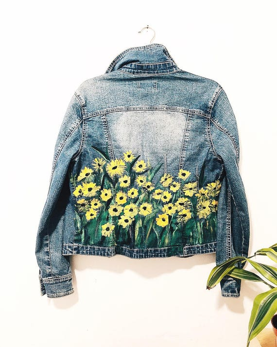Hand-Painted Daisy Denim Jacket