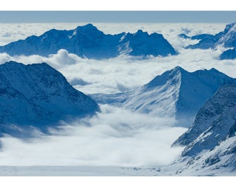 Photograph looking down the Aletsch Glacier from the Jungfraujoch, Valais, Switzerland - Fine art archival photographic print by Steve Davey