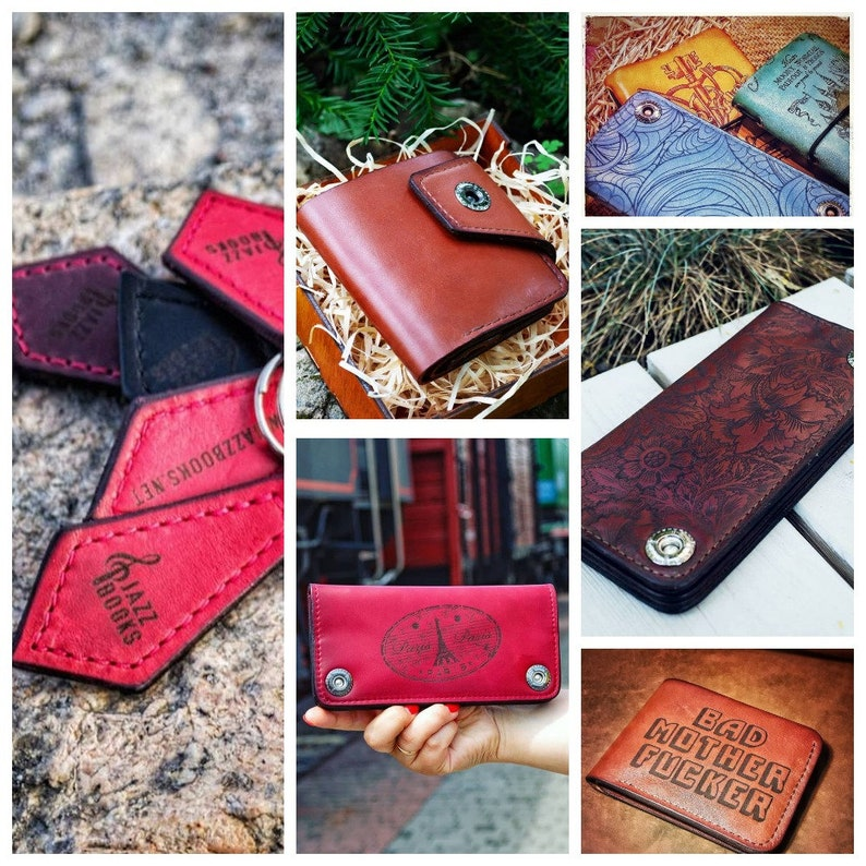Travel clutch wallet with dragon image 100/% leather