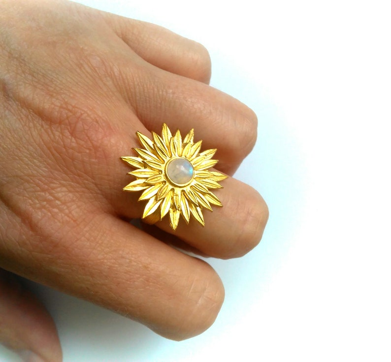 Moonstone Ring Flower Ring Gold Brass Floral Statement Ring image 0