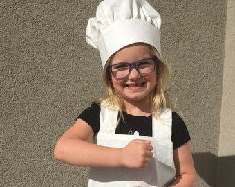 Linen Pinafore Apron and Chef Hat