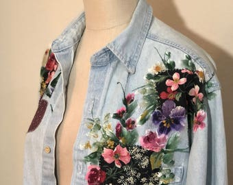 90s Painted Denim Floral button down - oversized or Large