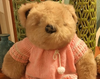 Teddy Bear With Pink And White Sweater Plush