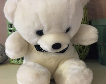 White Teddy Bear With Polka Dot Bow Tie