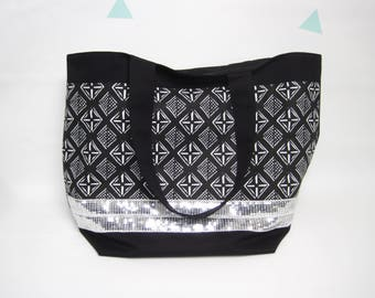 Ethnic and glitter black tote bag