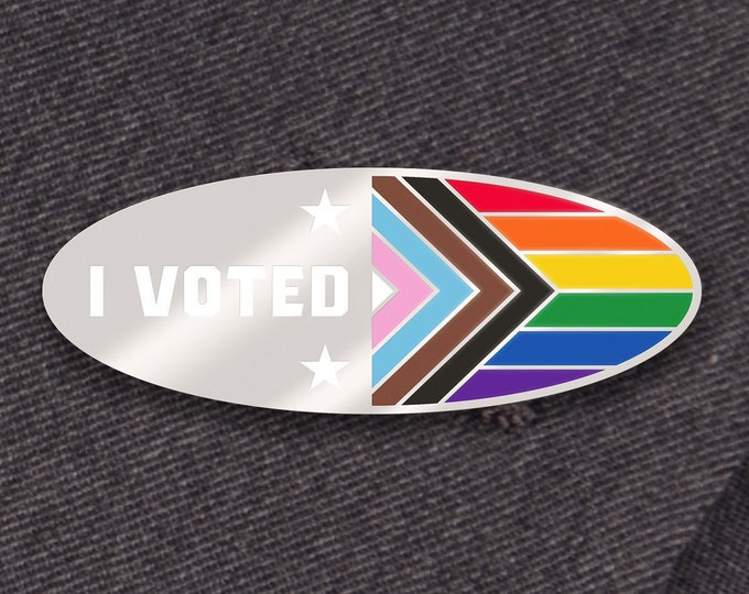 I Voted Pin: Progressive Rainbow PRIDE Edition