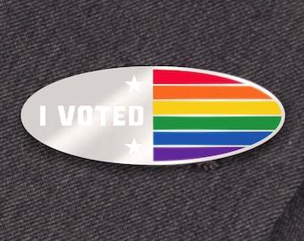 I Voted Pin Rainbow PRIDE Edition -- Hard Enamel Pin -- Rainbow Enamel Pin