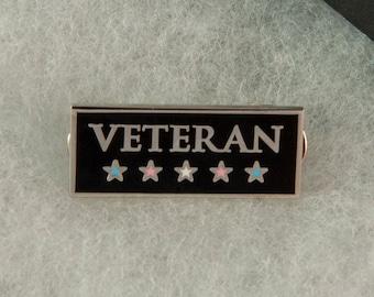 Transgender Veteran Pin -- Hard Enamel Pin -- Transgender Pride Pin