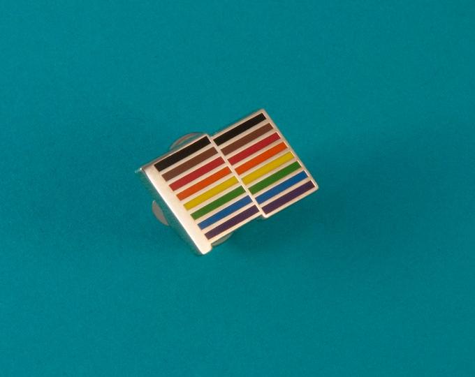 Rainbow Flag Lapel Pin -- Philadelphia Pride Flag Pin -- Inclusive Pride Flag