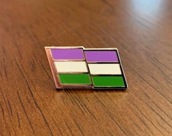 Genderqueer Pride Pin -- Genderqueer Flag Pin -- Cloisonne Enamel Pin