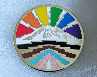 Rainbow Mountain Pin - Progressive Rainbow Flag Pride Pin - The Mountain is Out!