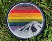 Rainbow Mountain Patch Velcro or Iron-on (Philadelphia Pride Flag Patch - Inclusive Pride Flag Patch)