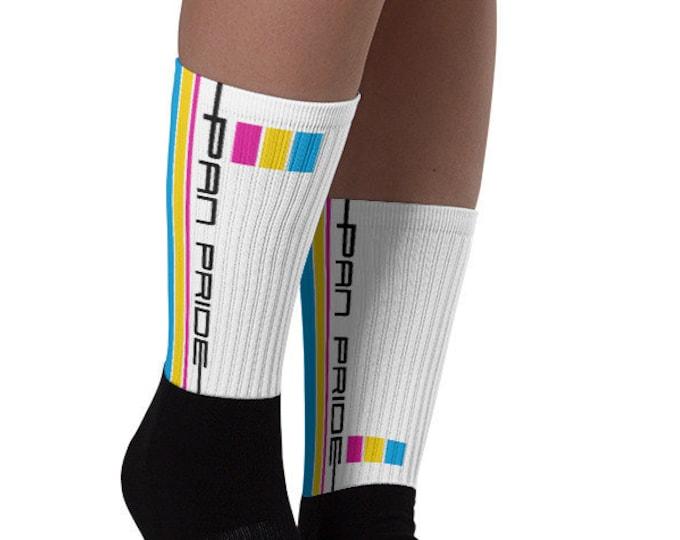 Pan Pride Socks - Racing Stripe Edition - Pansexual Pride Flag Socks