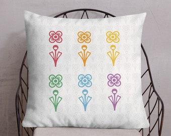 LGBT Pride Pillow - Rainbow Flowers Pillow - Mid Century Modern Pillow - Throw Pillow
