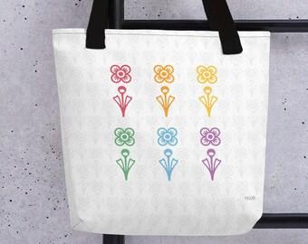 Rainbow Flower Tote bag - Mid-Century Modern Tote bag