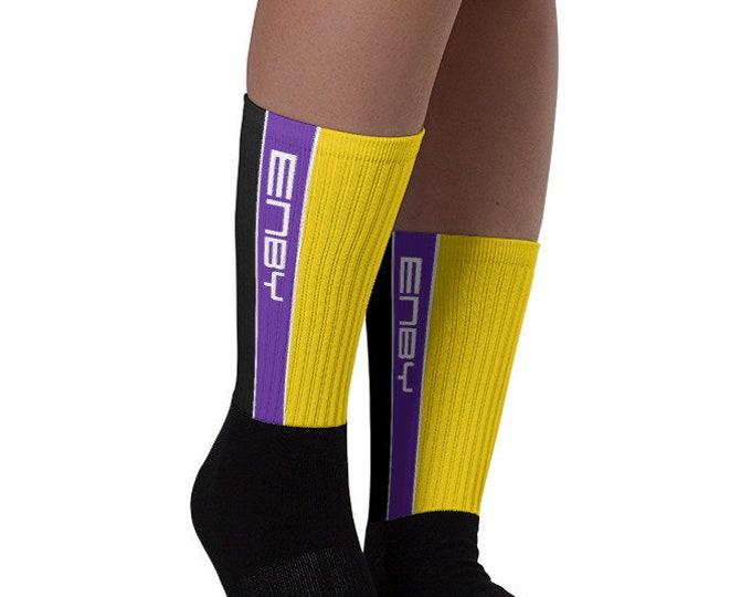 Nonbinary Pride Socks - Racing Stripe Edition