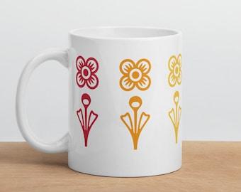 LGBT Pride Mug - Rainbow Flowers Mug - Mid Century Modern Mug - Coffee Mug - Tea Cup