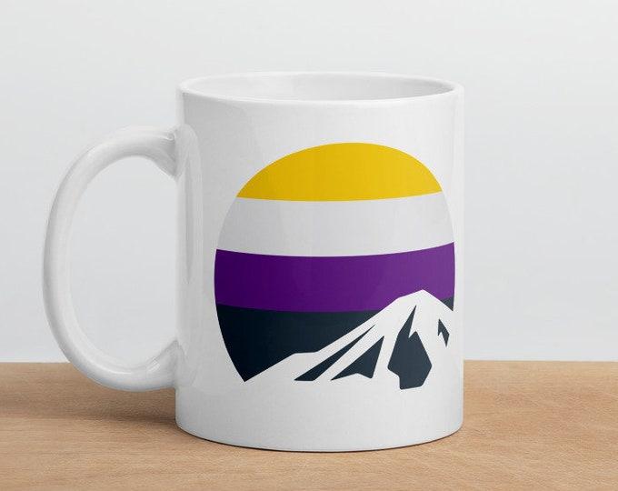 Nonbinary Mountain Mug - Nonbinary Pride Flag Mug
