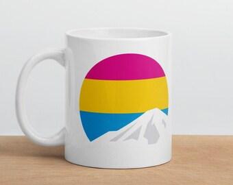 Pansexual Mountain Mug - Pansexual Pride Flag Mug - Pan Pride Flag Mug