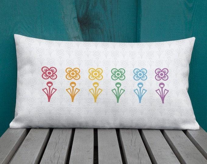 Mid-Century Modern Rainbow Flower Lumbar Pillow