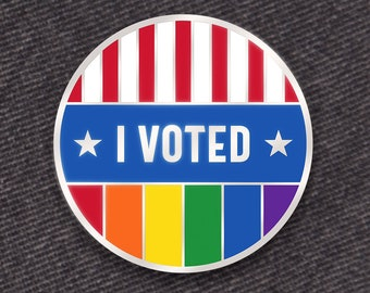 I Voted Pin: Rainbow PRIDE Edition -- Hard Enamel Pin -- Rainbow Enamel Pin