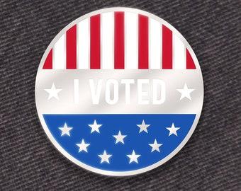 I Voted Pin -- Hard Enamel Pin -- Red, White, and Blue Enamel Pin