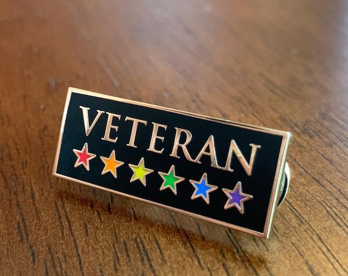 LGBT Veteran Pin -- Rainbow Veteran Pin -- Hard Enamel Pin -- LGBTQ Pride Pin