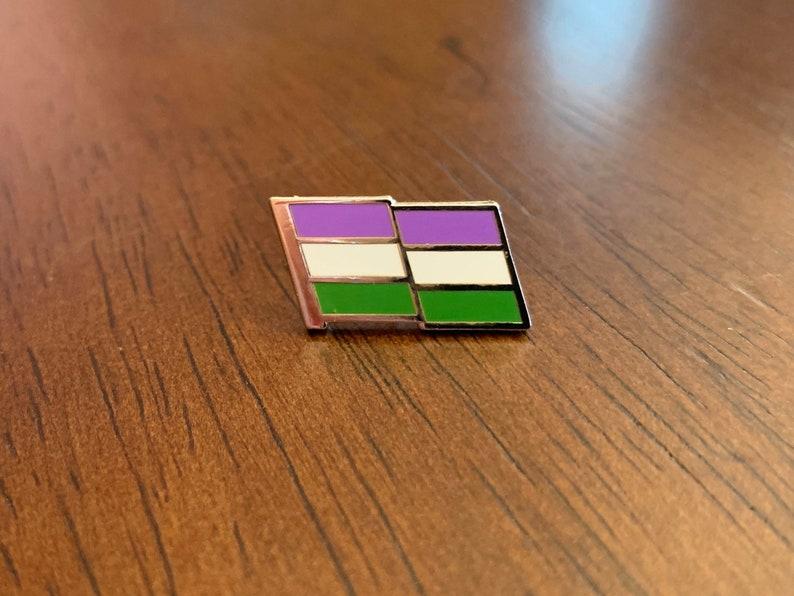 Genderqueer Pride Pin  Genderqueer Flag Pin  Cloisonne image 0
