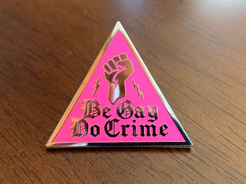 Be Gay Do Crime Pin  Pink Triangle Pin  Hard Enamel Pin image 0