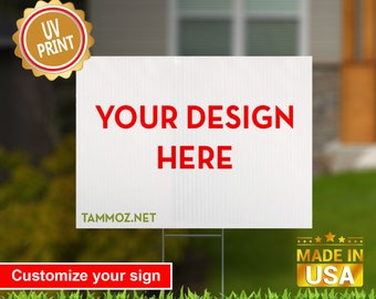 """Custom Yard Sign, UV Print Corrugated Plastic Sheets 24"""" x 18"""" or 18"""" x 12"""" for Indoor & Outdoor"""