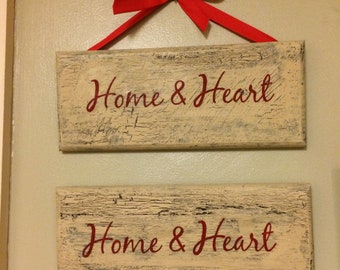 Handpainted Home and Heart sign