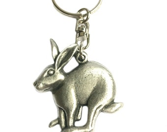 Bunny with Carrot Image Design Metal Chunky Keyring in Gift Box