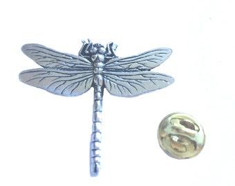 Lapel Pin The Silver Tone Lucky Tiny Dragonfly Tie Tack