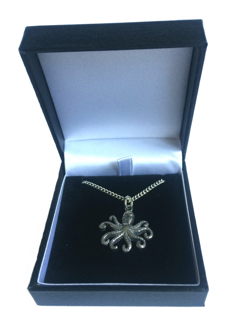handmade in England from Fine English Pewter Octopus Necklace Gift Boxed