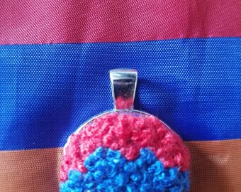 Embroidery necklaces,  armenian flag,unique pendant,3 color,red,blue,orange,handmade jewelry