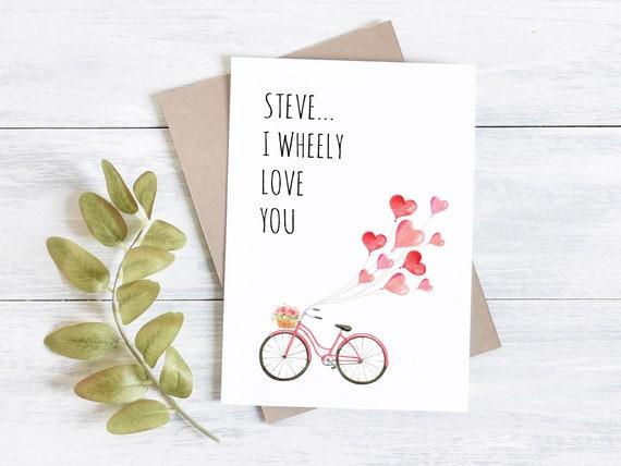 Bike Valentine's card, I wheely love you, custom card