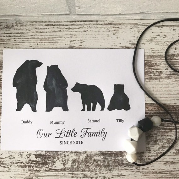 Bear family print, personalised bears