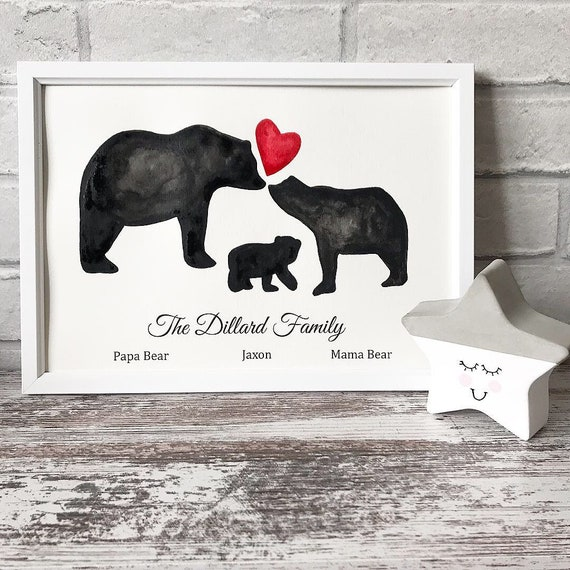 Family bear print, bears with heart