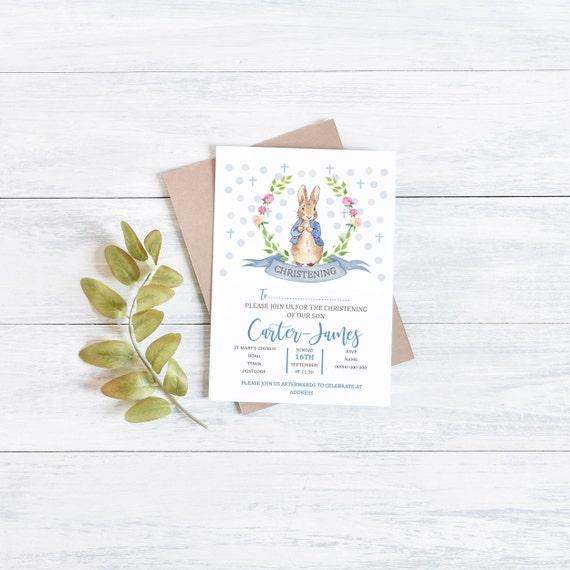 Personalised Peter Rabbit invitation, Birthday girl, Flopsy Bunny, Personalised First Birthday