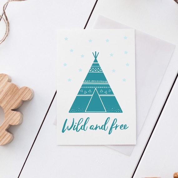 Wild and free, Teepee, Kids room wall print