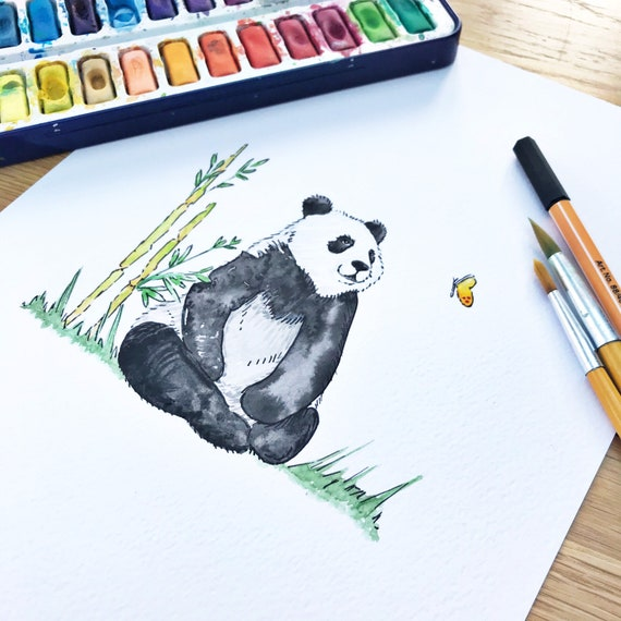 Panda watercolour, original painting, one of a kind artwork