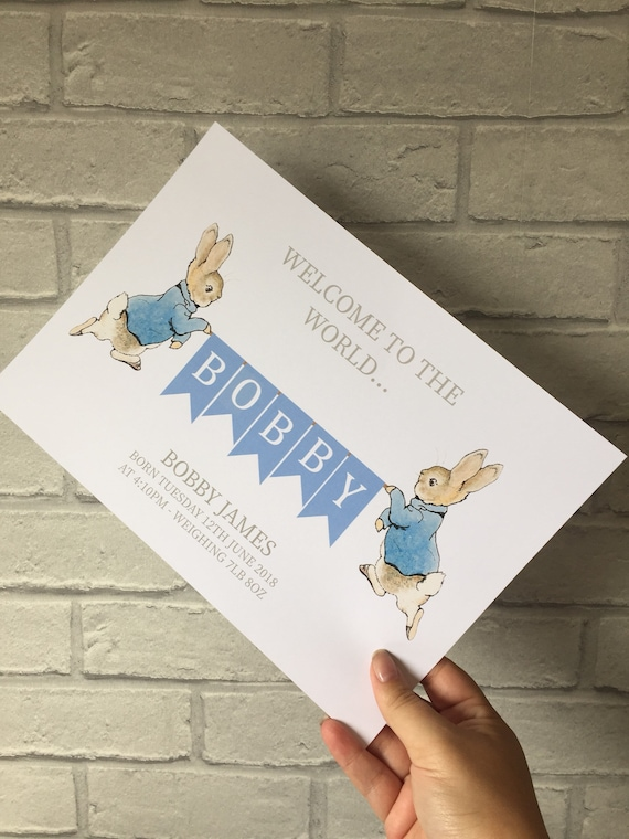 Peter rabbit print, new baby gift, personalised