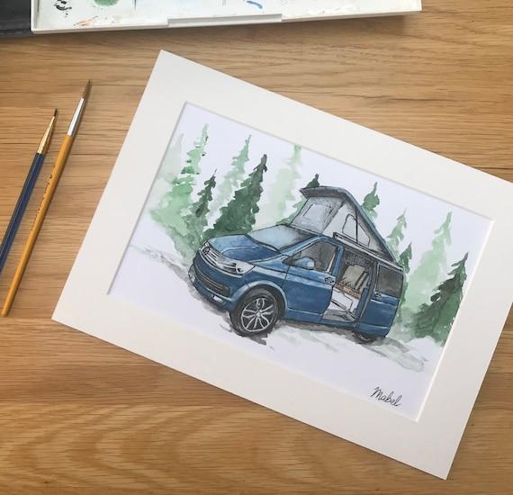 Camper van painting, custom camper drawing