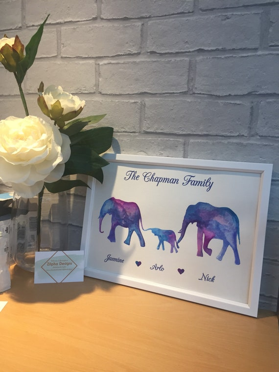 Elephant family print, personalised elephant art